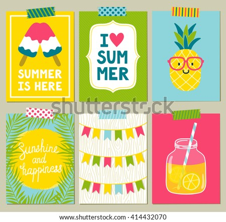 Vector set of bright summer cards. Beautiful summer posters with pineapple, lemonade, ice cream, sun, palm leaves, phrases \