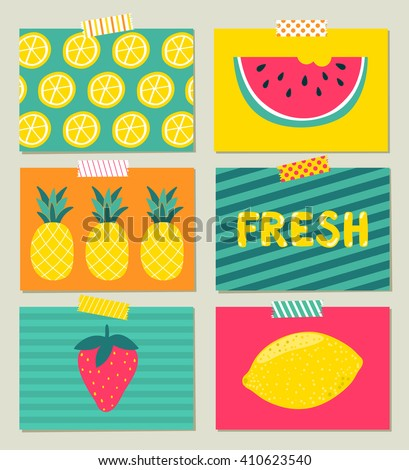 Stock Photo Vector set of bright summer cards. Beautiful summer posters with pineapple, watermelon, lemon, palm leaves and hand written text. Journal cards.