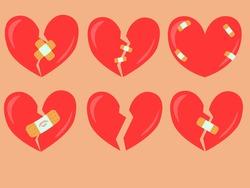 Vector set of broken hearts.