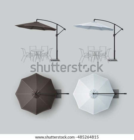 Vector Set of Brown Black Gray White Blank Patio Outdoor Beach Cafe Bar Pub Lounge Restaurant Round Umbrella Parasol for Branding Top Side View Mock up Close Isolated on Background