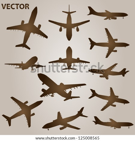 Vector set of brown planes or airplanes flying isolated on beige background