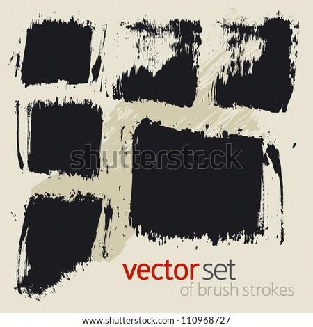 Vector set of  brush strokes