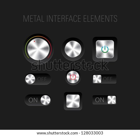 Vector set of brushed metallic interface elements on black background