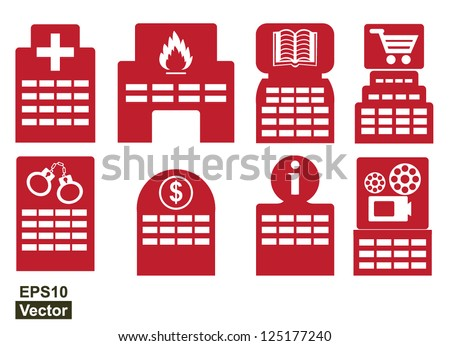 Vector : Set Of Building Icon : Hospital, Fire Station, Library, Department Store, Police Station, Bank, Information Center and Cinema Isolate on White Background