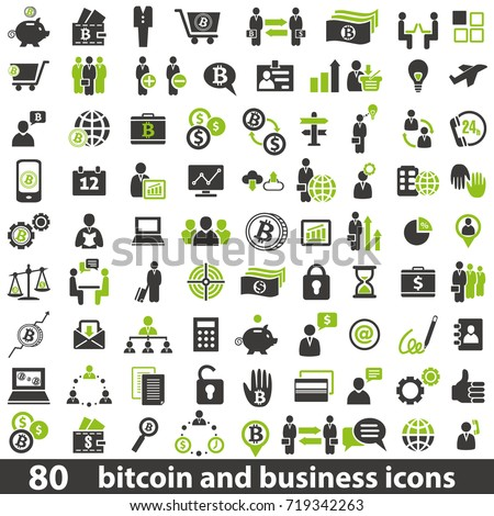 Vector set of 80 business and bitcoin icons.