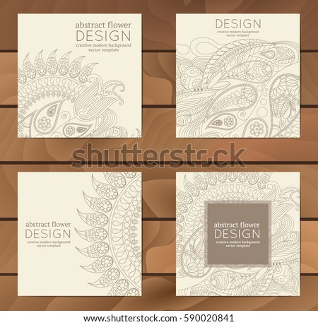 Vector set of business cards flayers banners with oriental pattern. Paisley and mandala. Modern abstract style, Indian, Arabic, Islam motifs. Vintage design elements