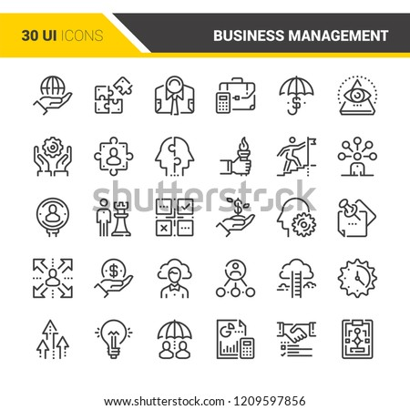 Vector set of business management flat line web icons. Each icon with adjustable strokes neatly designed on pixel perfect 48X48 size grid. Fully editable and easy to use.