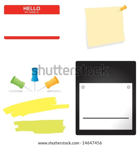 Vector set of business office supplies