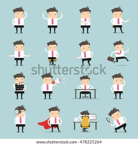 Vector Set of business people. Businessman walking to the success, businessman is in different situations. Vector illustration.