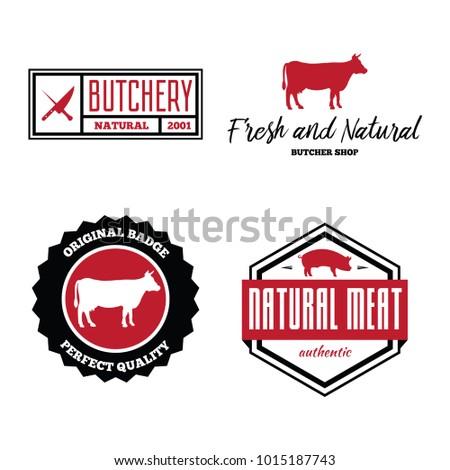 Vector set of butchery labels, badges and design elements