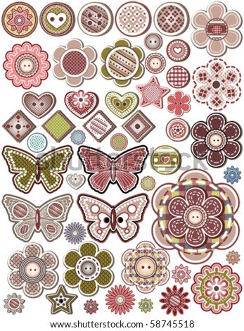 Vector Set of 50 buttons, design elements