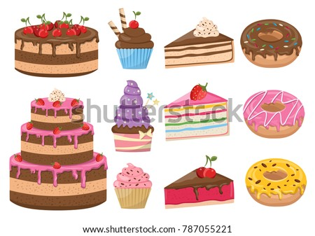 Vector set of cakes bakery background