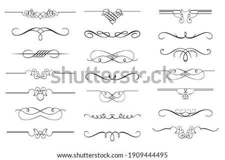 Vector set of calligraphic design elements and page decor. Vintage and filigree decoration set. Filigree divider wedding Invitation.