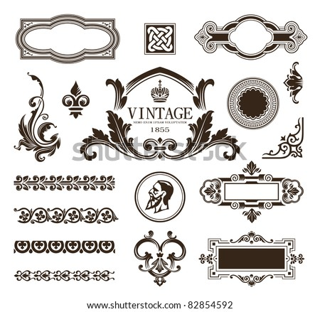 Vector set of calligraphic design elements, borders and frames.