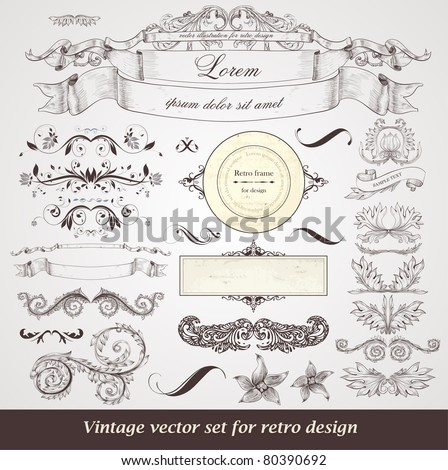 vector set of calligraphic design elements: frames, ribbons, floral ornaments with flowers for decoration