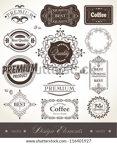 Vector set of calligraphic design elements- labels and signs premium quality_best quality_coffee