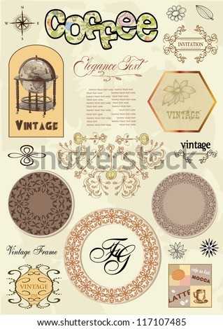 Vector set of calligraphic design elements: page decoration, Label, frames and floral ornaments