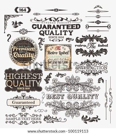Vector set of calligraphic design elements: page decoration, Premium Quality and Satisfaction Guarantee and Highest Quality Labels, antique and baroque frames and borders for old design