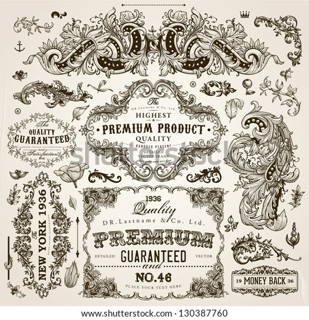 Vector set of calligraphic design elements: page decoration, Premium Quality and Satisfaction Guarantee Label, antique and baroque frames | Old paper texture with dirty footprints of a cup of coffee.