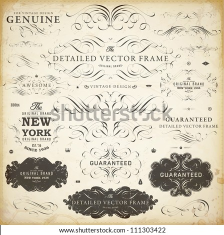 Vector set of calligraphic design elements: page decoration, Satisfaction Guarantee Label, calligraphic frames | Old paper texture with dirty grunge footprints of a cup of coffee.