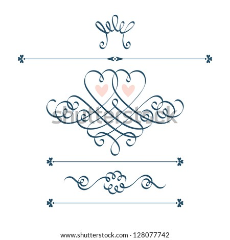 Vector set of calligraphic design elements with motive couple of hearts, crown, flower. Abstract cute decorative hand drawn illustration for original greeting, invitation card Valentine's Day, wedding