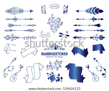 stock-vector-vector-set-of-calligraphic-elements-for-design-hand-drawn-vintage-arrows-wave-dividers-and
