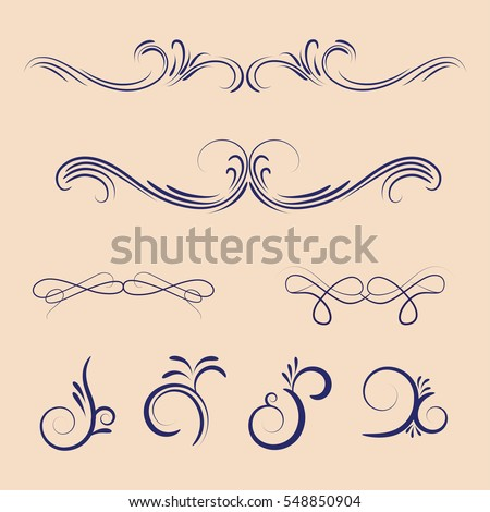 Vector set of calligraphic elements.Vintage decorative ornaments.