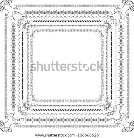 vector set of 6 calligraphic frame - stock vector