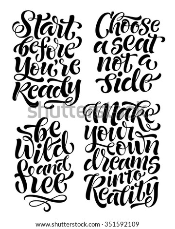 vector set of calligraphic text