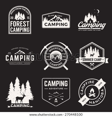 vector set of camping and outdoor adventure vintage logos, emblems, silhouettes and design elements with grunge textures