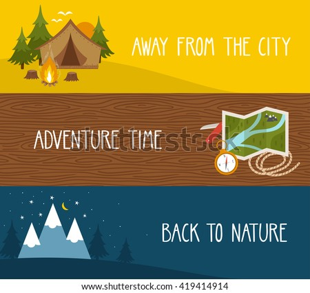 vector set of camping banners