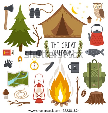 Vector set of camping elements. Summer background with camping equipment.