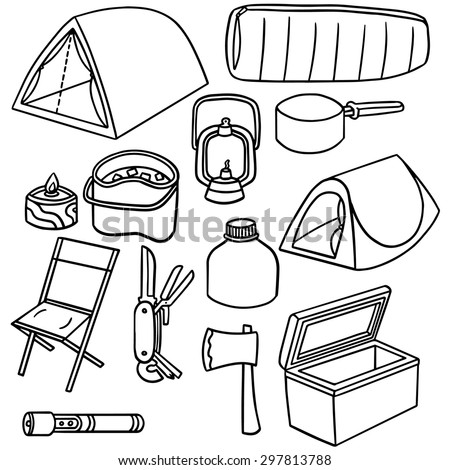 vector set of camping equipment