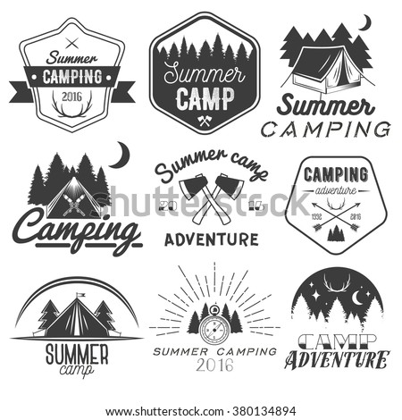 Vector set of camping labels in vintage style. Design elements, icons, logo, emblems and badges isolated on white background. Camp outdoor adventure concept illustration.