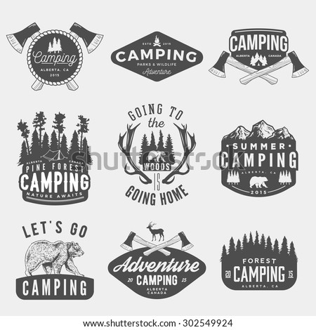 vector set of camping vintage logos, emblems, silhouettes and design elements. logotype templates and badges with mountains, forest, trees, tent, axes, bear, deer. outdoor activity symbols