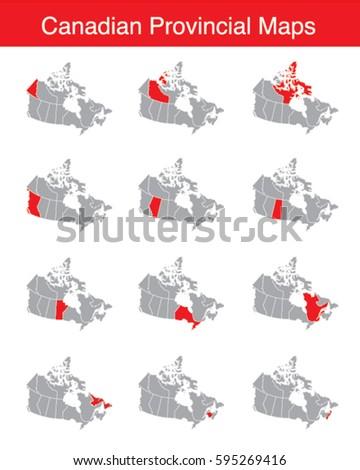 vector set of canadian provinces