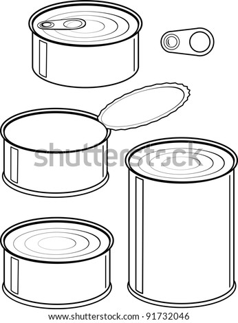 Vector set of cans - canned food - isolated illustration black contour on white background