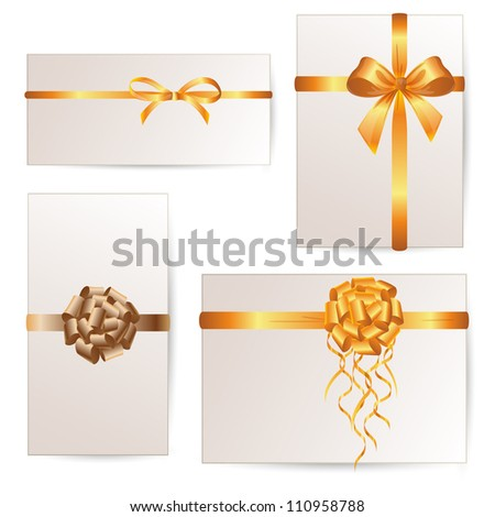 Vector Set of card note with golden gift bows and ribbons