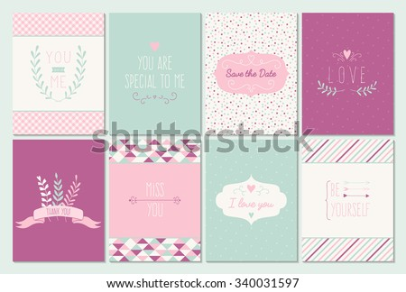 vector set of 8 card templates