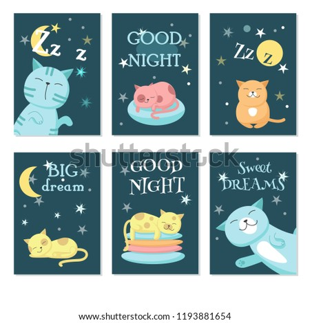 Vector set of cards with cute sleeping cats and handwritten quotations. Vector illustration of funny cats with night sky landscape.