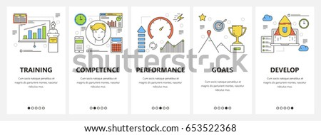 Vector set of career concept vertical banners. Training, Competence, Performance, Goals and Develop templates. Modern thin line flat design elements, symbols, icons for website menu, print.