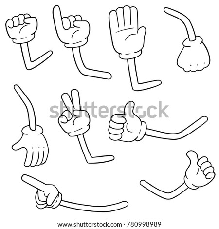 vector set of cartoon arms