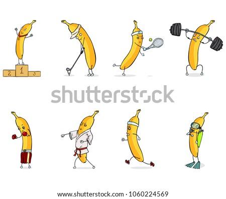 Vector Set of Cartoon Banana Characters Doing Sports and Trainings
