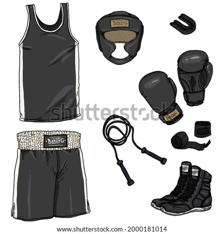 Vector Set of Cartoon Boxing Equipment. Helmet, Uniform, Gloves, Hand Wrapes, Mouthpiece and Shoes Foto stock ©