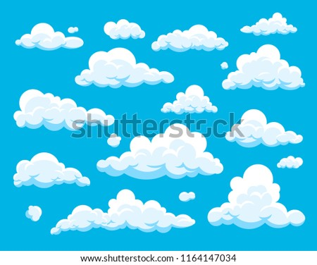 Vector set of cartoon clouds isolated on blue background. Collection of cloud icons in flat style. Cloudscape illustration. Symbol for label, logo, pattern, web site, poster, wallpaper and print.