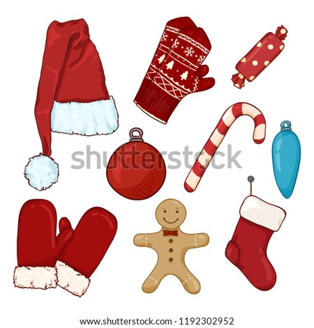 Vector Set of Cartoon Color Christmas Clothes and Decorations.