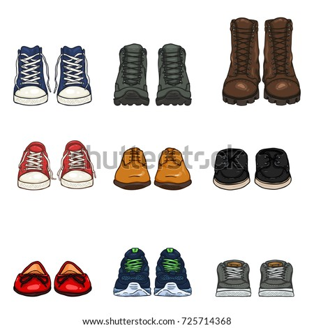 Vector Set of Cartoon Color Shoes Items. Front View Collection