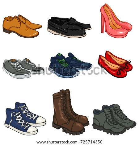 Vector Set of Cartoon Color Shoes Items on White Background
