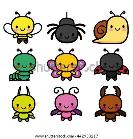 vector set of cartoon cute bugs