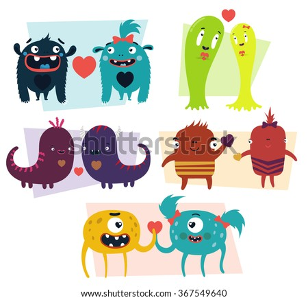 vector set of cartoon cute